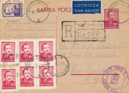 POLAND / POLEN / BUSKO ZDROJ   - 1949  ,  Kartka Pocztowa Per  Luftpost /  Registered Mail  Nach New York / USA - Entiers Postaux