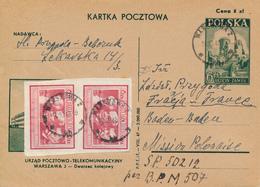 POLAND / POLEN / WARSZAWA - 1946  ,  Postamt Warschau 2 Am Hauptbahnhof  - Kartka Pocztowa Nach BADEN-BADEN / DE - Entiers Postaux