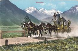 Poste Et Facteur Alpenpost Alpes Schweizerische Gebirgspost Diligence Suisse Malle Postale De Montagne - Post