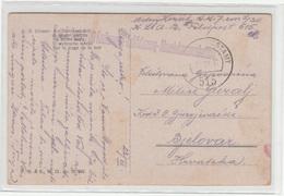 Austria WWI Ribano Painting Postcard Posted 1917 K.u.K. 7cm L/30 Kraftwagen-Luftfahrzeug-Abwerk. FP 515 To Bjelovar - Croatia