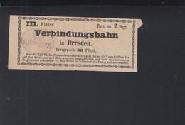 Fahrschein Verbindungsbahn 3. Klasse Dresden - Railway