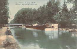51 MARNE Péniche Sous Le Pont D'Issu Au Canal à SEPT-SAULX Carte Colorisée - Autres Communes