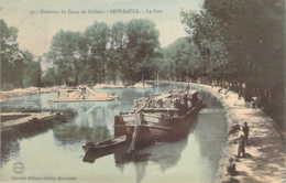 51 MARNE Péniche Chargée De Bois Sur Le Canal Au Port De  SEPT-SAULX Carte Colorisée - Autres Communes