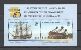 F044 SOLOMON ISLANDS SHIPS & BOATS WORLD STAMP EXPO AUSTRALIA 99 1BL MNH - Barche