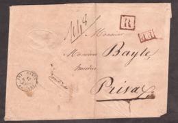 LSC - 17 Sept 1847 - Paris (noir, Bureau D) Pour Privas (Ardèche) - Port Payé (PP Rouge) Et Recommandé R (rouge) - Cire - Poststempel (Briefe)