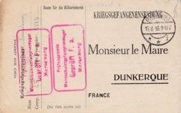Correspondance Militaire Prisonniers Guerre Dunkerque Nord Avis Reception Colis - Marcophilie (Lettres)