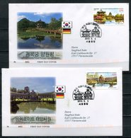 """First Day Cover Südkorea/Germany 2013 Mi.Nr.2937/38 Ersttagsbriefe""""130 Jahre Diplomatische Beziehungen M. Südkorea""""2 FDC - Gemeinschaftsausgaben"""