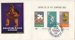 Mexico Cover Olympic Games Mexico 1968 Souvenir Sheet With Folio Print Cachet - Mexico