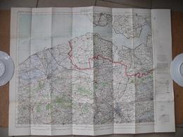 Carte Entoilée Anglaise WWI Ghent Gand Belgique Belgium Bruges Knocke Vlissingen Blankenberghe Sluis - Dokumente