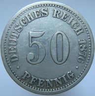 LaZooRo: Germany 50 Pfennig 1876 A VF / XF - Silver - [ 2] 1871-1918: Deutsches Kaiserreich