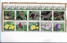 EL SALVADOR 2003 INSECTS AND FLOWERS IN BLOCK OF 10 VALUES USED ON PAPER NATURE MI 2314-23 - El Salvador