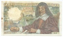 BILLET  100 Francs DESCARTES 15/05/1942 - 1871-1952 Anciens Francs Circulés Au XXème