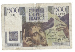 BILLET  500 Francs CHATEAUBRIAND  7/11 /1945 - 500 F 1945-1953 ''Chateaubriand''