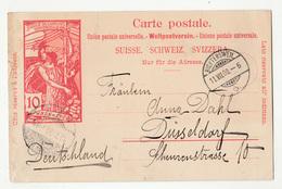 Switzerland 10c UPU Illustrated Postal Stationery Postcard Posted 1900 To Germany B200210 - Entiers Postaux