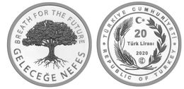 AC - BREATH FOR THE FUTURE - 2 MINESTRY OF AGRICULTURE AND FORESTRY COMMEMORATIVE SILVER COIN PROOF UNC TURKEY 2020 - Turquia