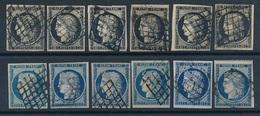 """DH-181: FRANCE: Lot Avec """"CERES"""" N°3et 4 (6séries) Obl - 1849-1850 Ceres"""