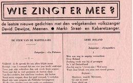 1940-45 WW2 MEENEN MENEN DAVID DEWIJZE MARTELAARS - Manuscrits