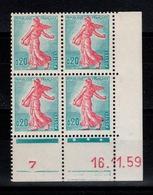 Coin Daté YV 1233 N** Du 16.11.59 , 3 Points - Ecken (Datum)