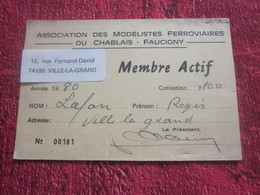 CHABLAIS- FAUCIGNY--ASSOCIATION MODÉLISTES FERROVIAIRES LAF. RÉGIS VILLE-LA-GRAND HAUTE SAVOIE 1980-CARTE MEMBRE ACTIF - Chemin De Fer