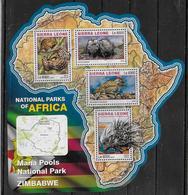 SIERRA LEONE Feuillet  N°  6001/04  * *  ( Cote 20e )  Parc Zimbabwe Pangolin Loutre Oiseaux Porc Epic - Pájaros