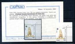 1992 Rep. It. VARIETA' CERTIFICATO Stampa Evanescente (SS. N.1993 / SS Spec. N.1625aa) - 6. 1946-.. Repubblica