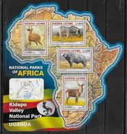 SIERRA LEONE  Feuillet  N°  6013/16  * *  ( Cote 20e )  Parc Ouganda Zebre Antilope Buffle - Sellos