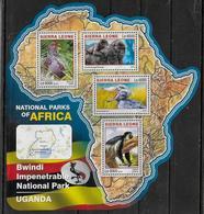 SIERRA LEONE  Feuillet  N°  6037/40  * *  ( Cote 20e )  Parc Ouganda Oiseaux Gorille Singe - Picotenazas & Aves Zancudas