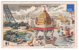 Chromo Guérin-Boutron Projets Exposition Universelle De Paris 1900 Seine Tour Eiffel Inde Trocadéro Canotage A32-63 - Guerin Boutron