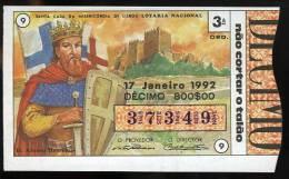 Loterie PORTUGAL Afonso Henriques Premier Roi Chateau Guimarães 17.01.1992 Loteria Lottery First King Of Portugal Castle - Biglietti Della Lotteria