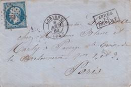Napoléon III N°14 Sur Lettre Lorient>Paris  Après Le Départ 1860 - 1853-1860 Napoléon III