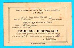 NAMUR Tableau D'Honneur Ecole Moyenne Etat 1923 / Verso NAMUR Panorama Et Partie Tram En Gros Plan - 2 Scans - Namen