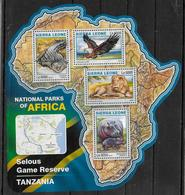SIERRA LEONE  Feuillet  N° 5977/80  * *  ( Cote 20e )  Parc Tanzanie Oiseaux Aigle Crocodile Lion Hippopotame - Arends & Roofvogels