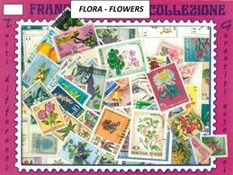 MIX DI 100 FRANCOBOLLI ASSORTITI SCELTI USATI FIORI - 100 SELECTED FLOWERS CANCELLED STAMPS - Altri