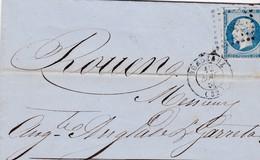 Napoléon III N°14 Sur Lettre Bordeaux>Rouen 1855 - 1853-1860 Napoléon III