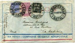 BRESIL LETTRE VIA AEREA -- COMPAGNIE GENERALE AEROPOSTALE DEPART NATAL 14 DEZ 30 POUR LA FRANCE - Luchtpost