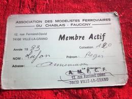 CHABLAIS- FAUCIGNY--ASSOCIATION MODÉLISTES FERROVIAIRES LAF. RÉGIS VILLE-LA-GRAND HAUTE SAVOIE 1983-CARTE MEMBRE ACTIF - Chemin De Fer