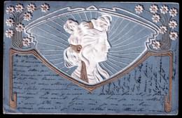 CPA PRECURSEUR EN RELIEF- ITALIE- PORTRAIT DE FEMME ET DECOR STYLE 1900- - Fantaisies