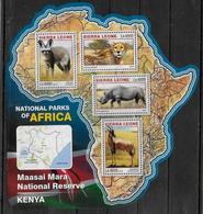 SIERRA LEONE Feuillet N° 6017/20 * *  ( Cote 20e )  Parc Kenya Rhinoceros Renard Guepard Antilope - Rinocerontes