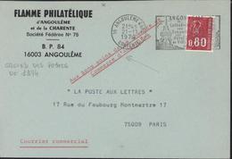 YT 1816 Marianne De Bequet CAD Flamme Angoulême Gare 21 11 74 Aux Bons Soins Chambre Commerce D'Angouleme Grève - Poststempel (Briefe)