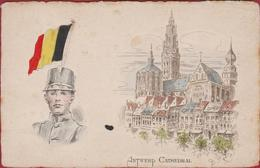 Antwerpen Kathedraal Anvers Antwerp Cathedral Patriotisme Drapeau Belge Belgische Vlag Illustrateur GP Illustrator - Antwerpen