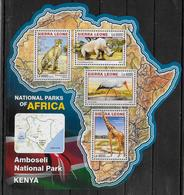 SIERRA LEONE Feuillet N° 6041/44 * *  ( Cote 20e )  Parc Kenya Rhinoceros Girafe Guepard Tantale Ibis Oiseaux - Giraffes