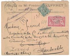 1906 - LETTRE RECOMMANDÉE De BRIGNOLES VAR AFFRANCHIE À 55c Avec SEMEUSE 130 + MERSON Pr MARSEILLE REÉXPÉDIÉE Sur PARIS - Postmark Collection (Covers)