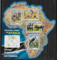 SIERRA LEONE  Feuillet N°  6021/24  * *  ( Cote 20e )  Parc  Botswana Elephants Antilope Phacochere Oiseaux - Elefantes