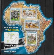 SIERRA LEONE  Feuillet N°  5981/84  * *  ( Cote 20e )  Parc  Botswana Antilope Phacochere Lion Girafe - Giraffen