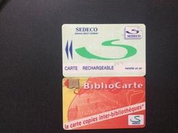 2 CARTES PORTE-MONNAIE  ELECTRONIQUE  SEDECO  *Service Dépot Copieur *Biblio Carte - Monéo