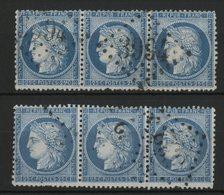 N° 60A Deux BANDES DE TROIS Du 25ct Bleu Type I. Cote 18 € - 1871-1875 Cérès