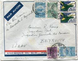 BRESIL LETTRE PAR AVION AMERIQUE DU SUD - PAR L'AEROPOSTALE DEPART RIO GRANDE NORTE 14 IV 34 POUR LE LIBAN - Luchtpost
