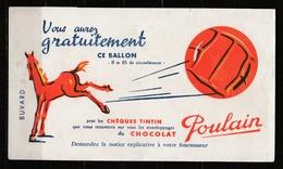 Buvard Chocolat POULAIN Avec Publicité Pour Chèques TINTIN - Chocolat