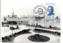 OBLITERATION JEAN MARIE DE LA MENNAIS SAINT MALO 1880 - Gedenkstempel