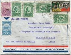 BRESIL LETTRE PAR AVION AMERIQUE DU SUD - PAR L'AEROPOSTALE DEPART RIO GRANDE NORTE 25 II 34 POUR LE LIBAN - Luchtpost